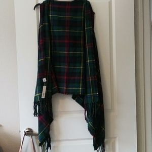 Jackets & Blazers - Unique Plaid Short Sleeve Hooded Shawl